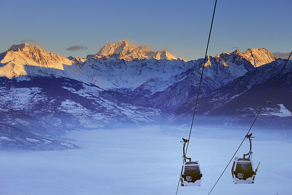 Winter in Valle d'Aosta In the high Alps of the Valle d'Aosta and Val di Cogne near the Italian border with France